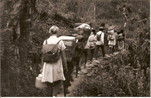 DI Nurse trekking to Pokhara to Vaccinate villagers -1973